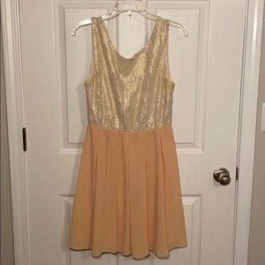 Ivory Lace and Peach Dress